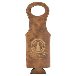 Rustic/Gold Laserable Leatherette Wine Bag