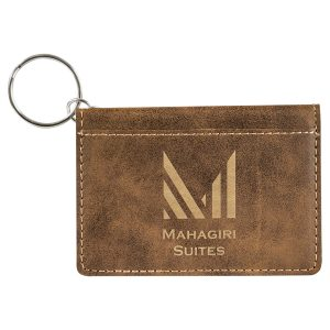"""4 1/4"""" x 3"""" Rustic/Gold Laserable Leatherette Keychain ID Holder"""