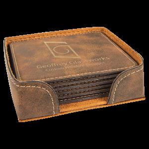 Square Rustic & Gold Leatherette 6-Coaster Set