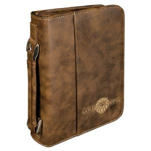 """6 3/4"""" x 9 1/4"""" Rustic/Gold Leatherette Book/Bible Cover with Handle & Zipper"""