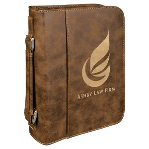 "7 1/2"" x 10 3/4"" Rustic/Gold Leatherette Book/Bible Cover with Handle & Zipper"