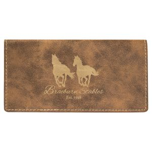 """6 3/4"""" x 3 1/2"""" Rustic/Gold Laserable Leatherette Checkbook Cover"""