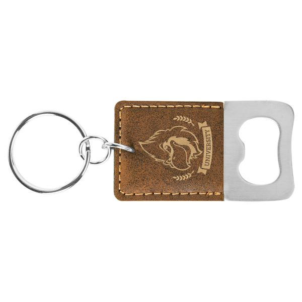 Rectangle Rustic/Gold Laserable Leatherette Bottle Opener Keychain
