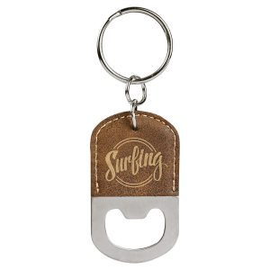 Oval Rustic/Gold Laserable Leatherette Bottle Opener Keychain