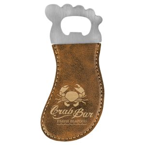 Rustic/Gold Laserable Leatherette Foot Shaped Bottle Opener with Magnet