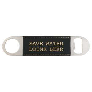 "1 1/2"" x 7"" Black/Gold Laserable Leatherette Bottle Opener"