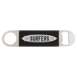 "1 1/2"" x 7"" Black/Silver Laserable Leatherette Bottle Opener"