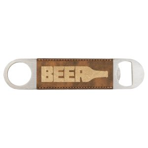 "1 1/2"" x 7"" Rustic/Gold Laserable Leatherette Bottle Opener"