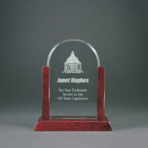 "8"" Jade Dome Gateway Glass Award with Rosewood Finish Base"
