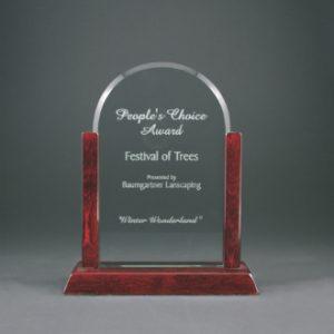 "9"" Jade Dome Gateway Glass Award with Rosewood Finish Base"