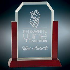 "9"" Jade Clip Corner Glass Award with Rosewood Finish Base"