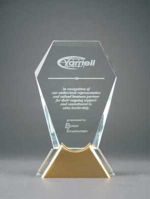 "7 1/2"" Gemstone Jewel Glass Award with Gold Metal Base"