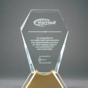 "8 1/2"" Gemstone Jewel Glass Award with Gold Metal Base"