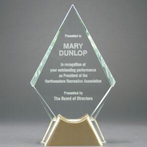 "9"" Diamond Jewel Glass Award with Gold Metal Base"