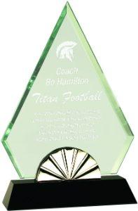 "9"" Diamond Horizon Glass with Black Base"