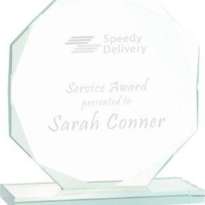 """7 1/2"""" Octagon Jade Glass Award"""