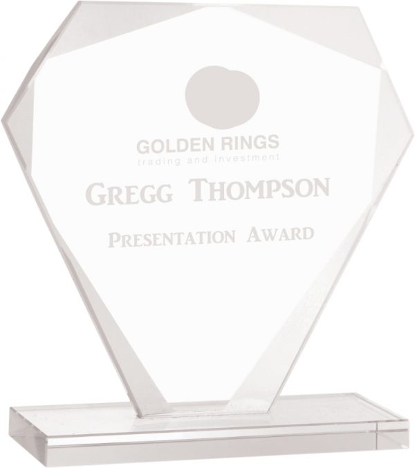 "7"" Cut Diamond Jade Glass Award"