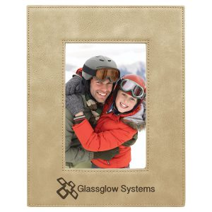 """4"""" x 6"""" Light Brown Laserable Leatherette Photo Frame"""