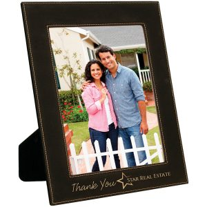 "8"" x 10"" Black/Gold Laserable Leatherette Photo Frame"