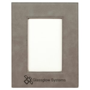 """4"""" x 6"""" Gray Laserable Leatherette Photo Frame"""