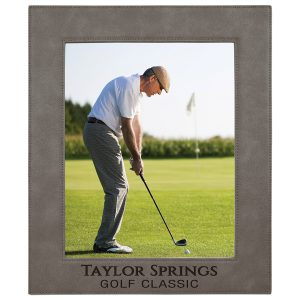"8"" x 10"" Gray Laserable Leatherette Photo Frame"