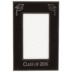 "4"" x 6"" Black/Silver Laserable Leatherette Photo Frame"