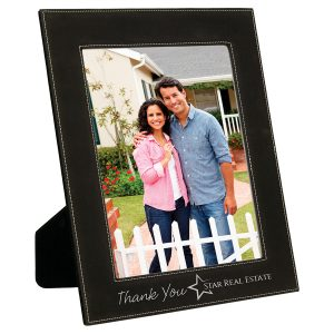 "8"" x 10"" Black/Silver Laserable Leatherette Photo Frame"