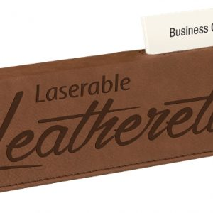 """10 1/2"""" Dark Brown Laserable Leatherette Desk Wedge with Business Card Holder"""