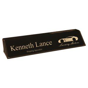 "10 1/2"" Black/Gold Laserable Leatherette Desk Wedge with Business Card Holder"