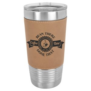 20 oz. Light Brown Laserable Leatherette Polar Camel Tumbler with Clear Lid