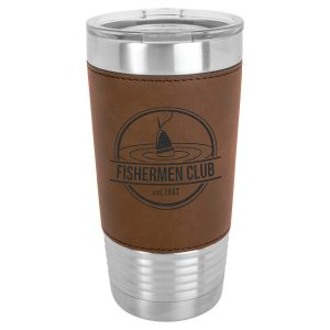 20 oz. Dark Brown Laserable Leatherette Polar Camel Tumbler with Clear Lid