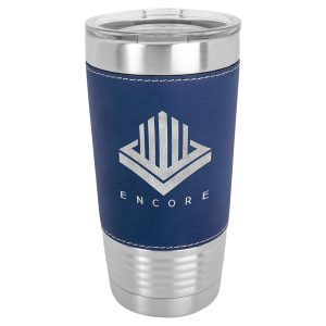 20 oz. Blue & Silver Laserable Leatherette Polar Camel Tumbler with Clear Lid