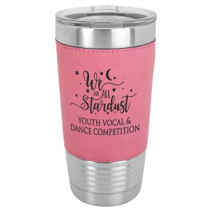 20 oz. Pink Laserable Leatherette Polar Camel Tumbler with Clear Lid