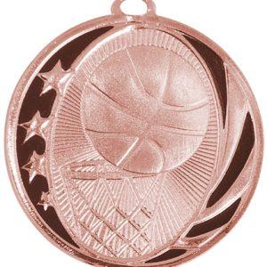"2"" Bright Bronze Basketball Laserable MidNite Star Medal"