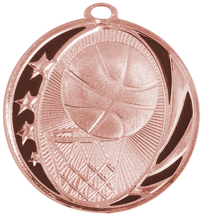 "2"" Bright Bronze Basketball Laserable MidNite Star Medal"
