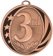 "2"" Bright Bronze 3rd Place Laserable MidNite Star Medal"
