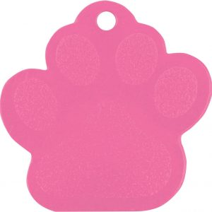 """1 3/8"""" x 1 3/8"""" Pink Laserable Paw Print Pet Tag"""