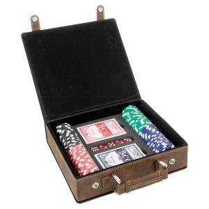 Rustic/Gold Laserable Leatherette 100 Chip Poker Set