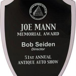 """7 1/4"""" Black Shield Reflection Glass Award"""