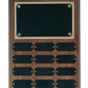 12 Plate Genuine Walnut Completed Perpetual Plaque