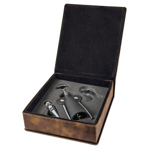 Rustic/Gold Laserable Leatherette 3-Piece Wine Tool Gift Set